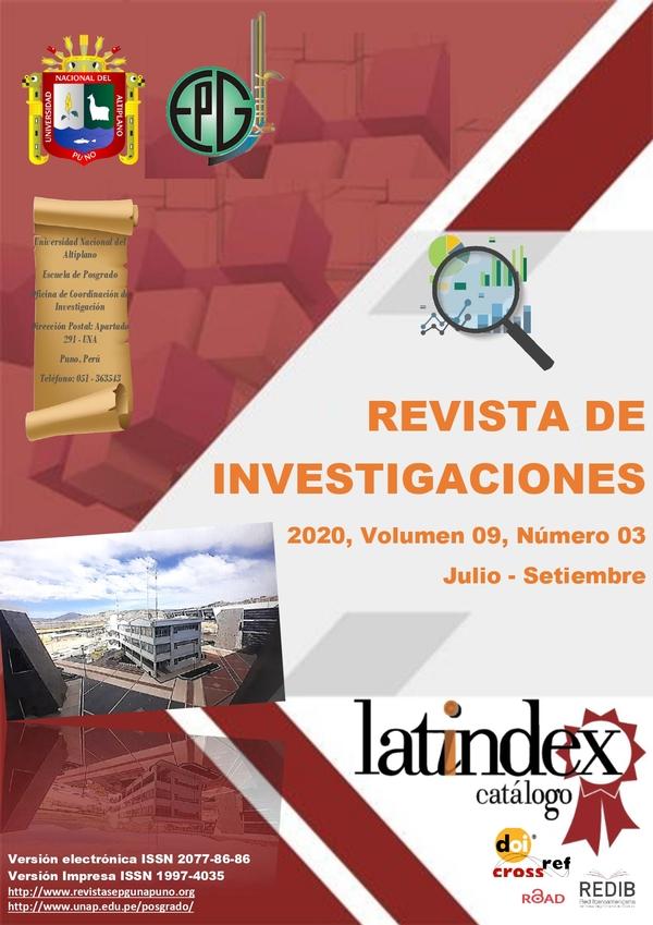 Ver Vol. 9 Núm. 3 (2020): REVISTA DE INVESTIGACIONES