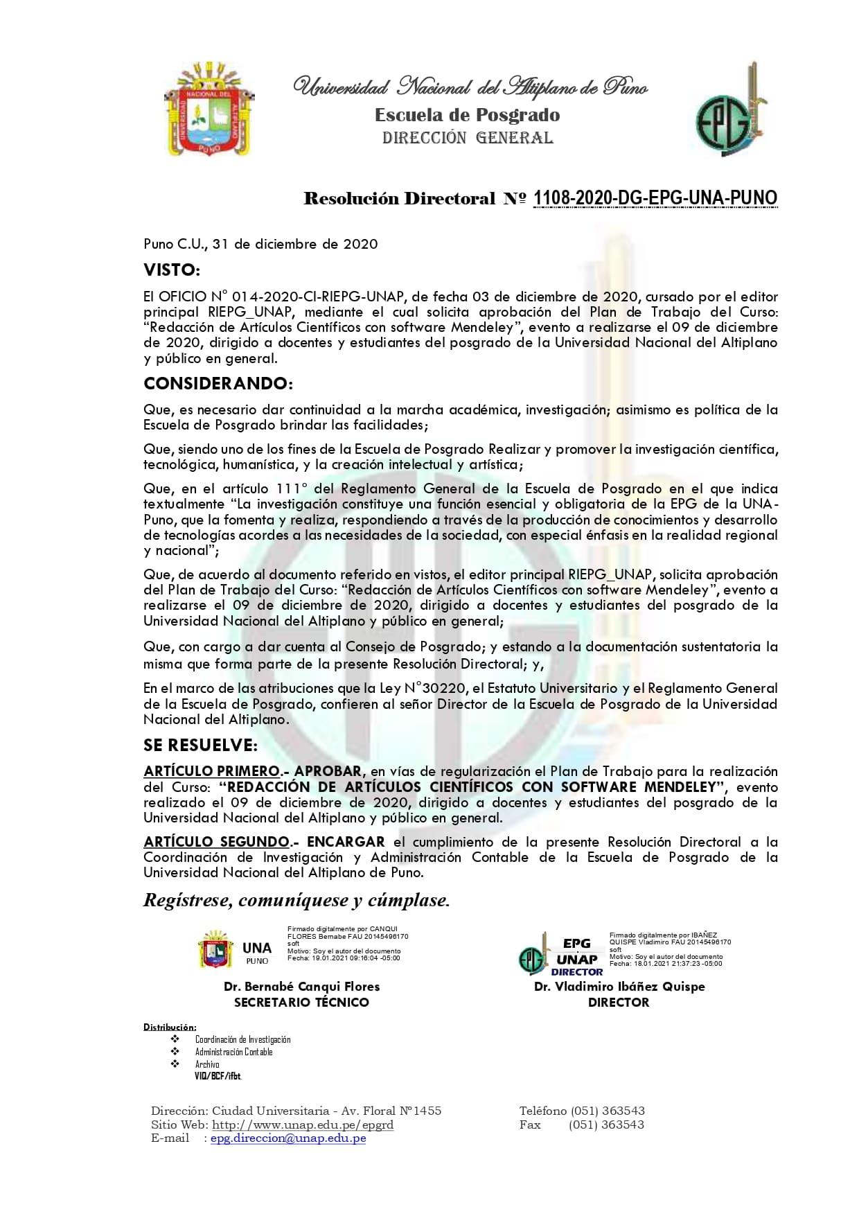 1108 - 2020 - RD - APROBAR CURSO SOFTWARE MENDELEY - CI